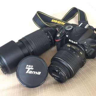 nikon d3200 + lensa nikkor 70-300 + lensa micro PROtama