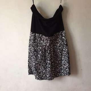 Black Printed Strapless Dress