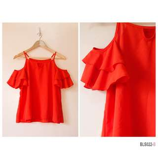 Ruffle bare shoulder- Red Orange