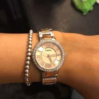 Fossil Virginia Watch Silver And Rose Gold