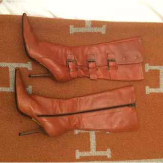Charles Davis Burnt Orange Leather Pointy Knee Boots With Buckle 36