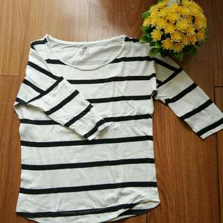 H & M Black And White Striped Long Sleeves