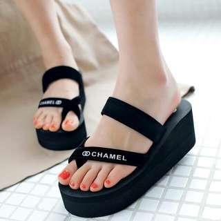 加 厚底 個性 黑色 一字 高跟 拖鞋