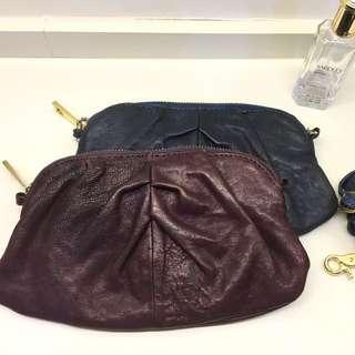 牛皮皮革抓鄒/藍色 手拿包  有斜背袋