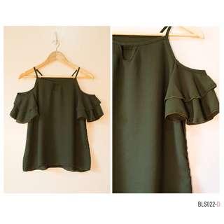 Ruffle Bare Shoulder- Dark Green