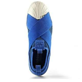 Adidas Superstar Knit Slip On In Dark Blue