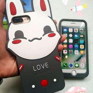 蘋果手機iPhone浮誇兔耳朵矽膠手機殼