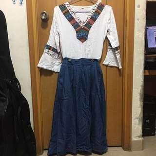 民族風套裝 喇叭袖 長裙