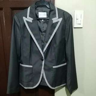 THE BLACK SHOP dark gray blazer with light gray edges (size L)