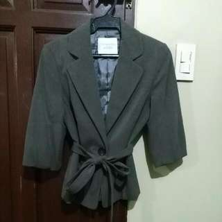 THE BLACK SHOP Gray Blazer 3/4 sleeve with belt (size S)