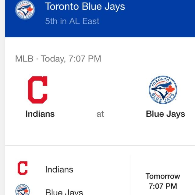 2 Tickets Tonight's Blue Jays Vs Cleveland Indians Game-below Face Value