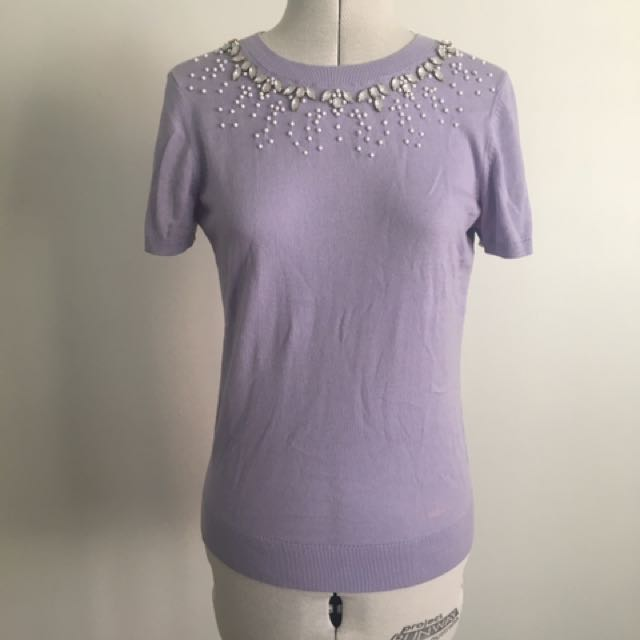 40's Vintage Style Knit Top In Pastel Purple