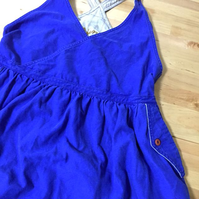 日本品牌棉麻綻藍吊帶連身裙長裙