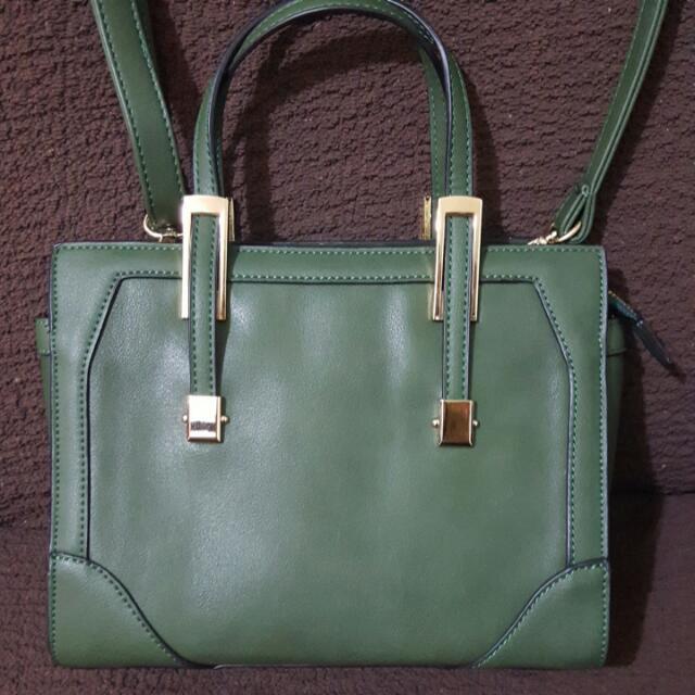 (降價)韓系墨綠色斜肩方包