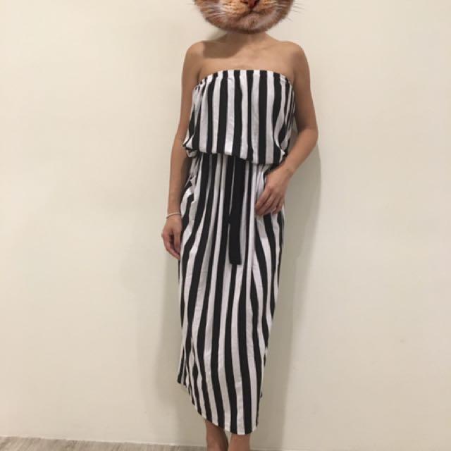直條平口顯瘦長洋#一百元洋裝#女裝五折出清