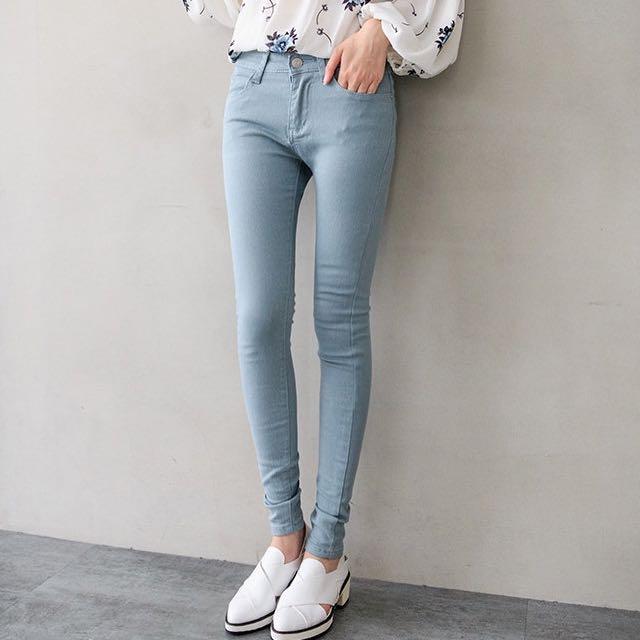 春夏彈性窄管褲