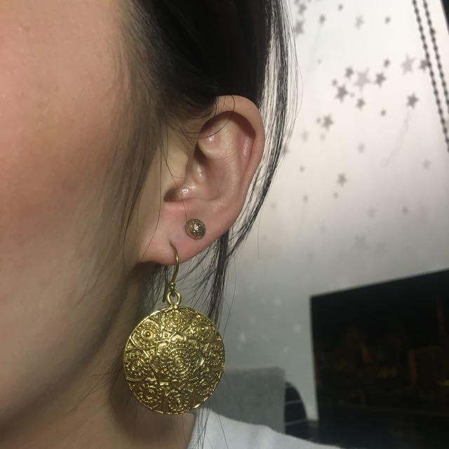 古銅金耳環
