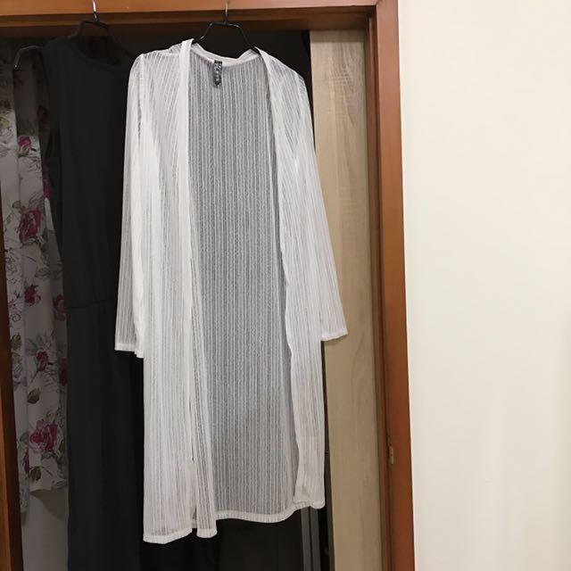 直條針織長版罩衫