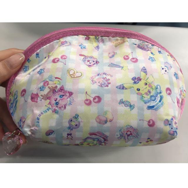 日本 神奇寶貝 皮卡丘 胖丁 粉紅色 化妝包