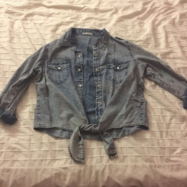 Acid Wash Denim Button Up Top
