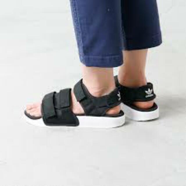 46da77368e4c 現貨Adidas Adilette Sandal W S75382 厚底涼鞋黑韓國愛迪達 含運最划算 ...