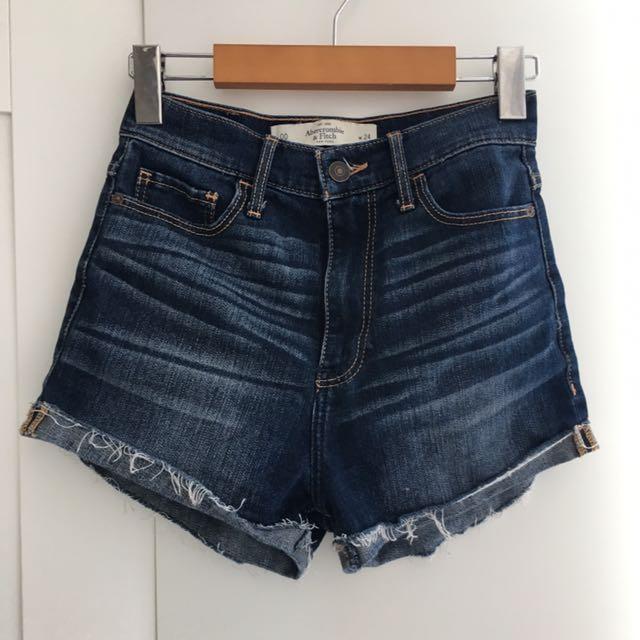 A&F 00 High Waisted Denim Shorts