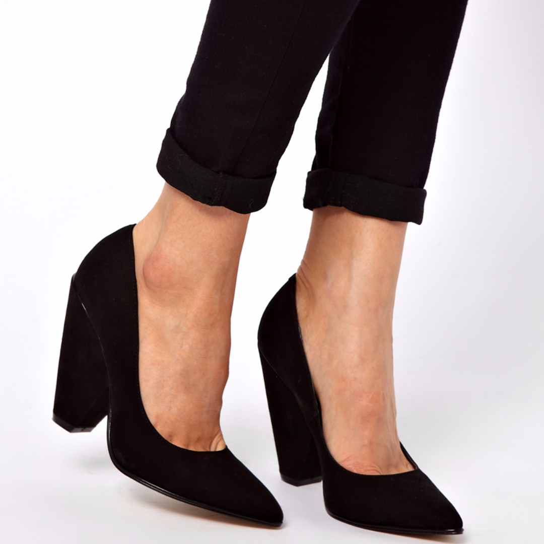 ASOS Polly Pointed Heels in Black Suede