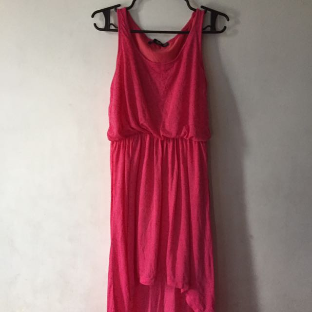 Bebe Pink Sleeveless Hi-low Dress