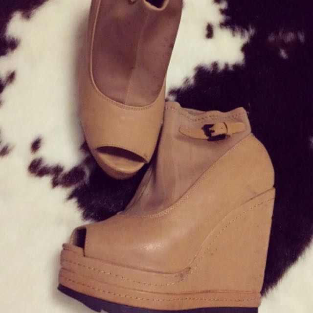 Beige Wedged Ankle Boots