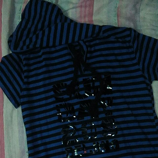 Black & Blue Stripe Hoodie Blouse