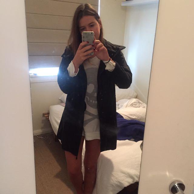 Black Cargo Jacket With Hood