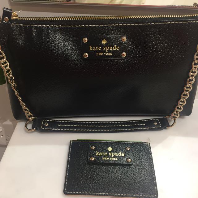 Black Leather Kate Spade Handbag With Gold Hardware