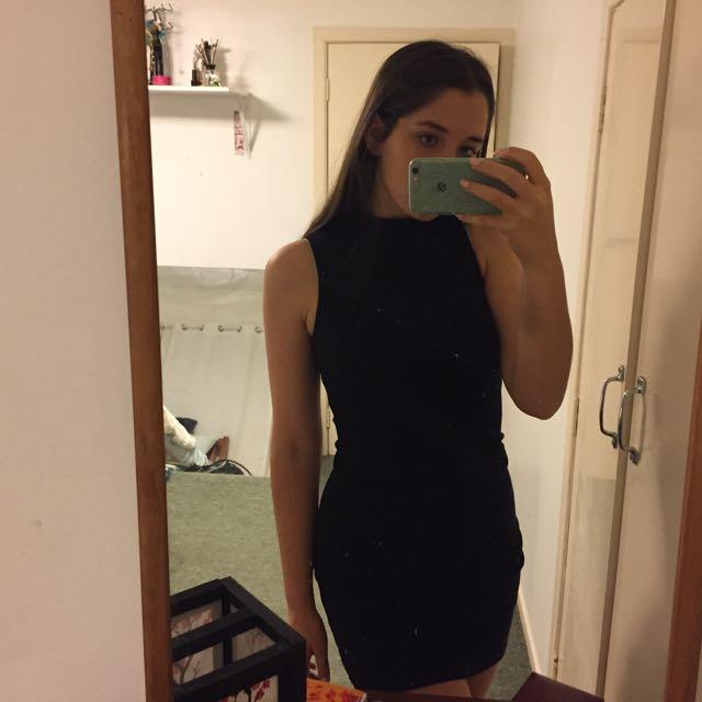 Black Turtleneck Body Con Dress