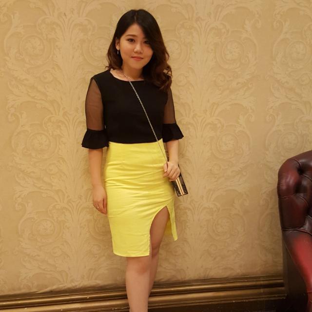 Black Yellow Lace Dress