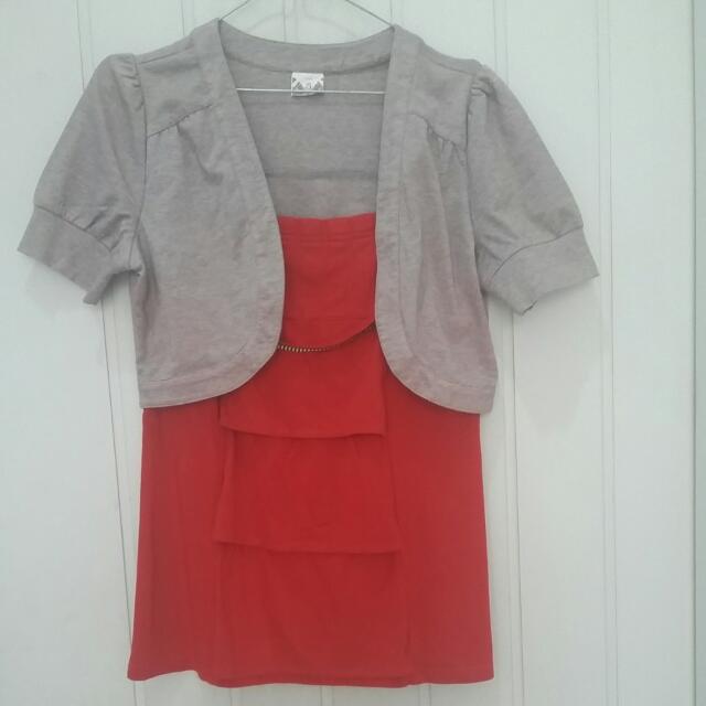 Blouse Merah Aksen Cardigan