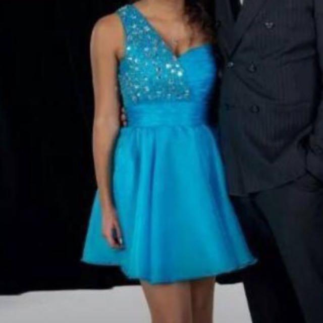 Blue Ball Dress With Gorgeous Rhinestone Gems