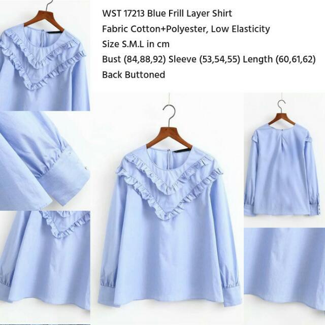 Blue Frill Layer Shirt