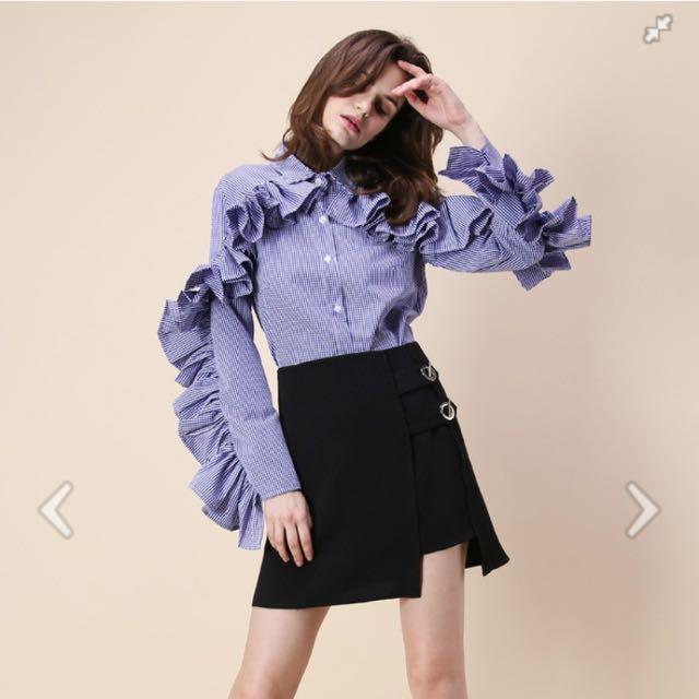 Blue Gingham Ruffle Shirt