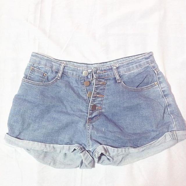 buttondown denim shorts