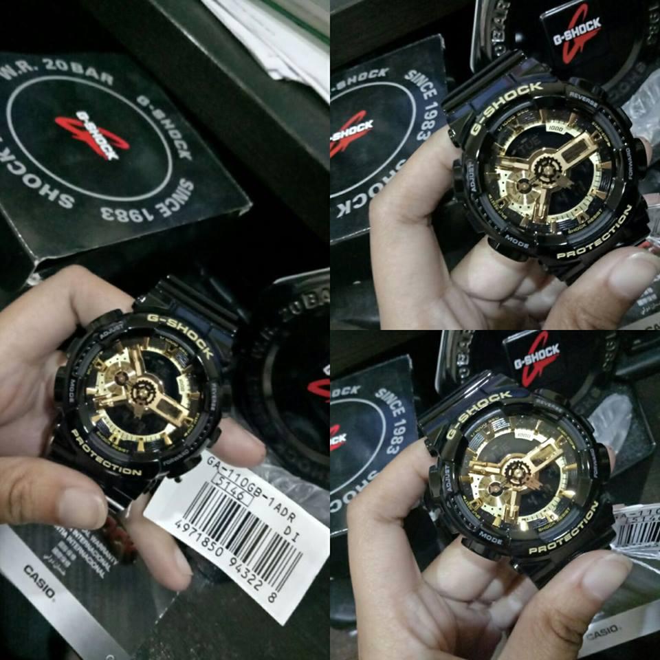 Casio G-Shock Men's Black/Gold Dial Resin Strap Watch - GA-110GB-1Adr