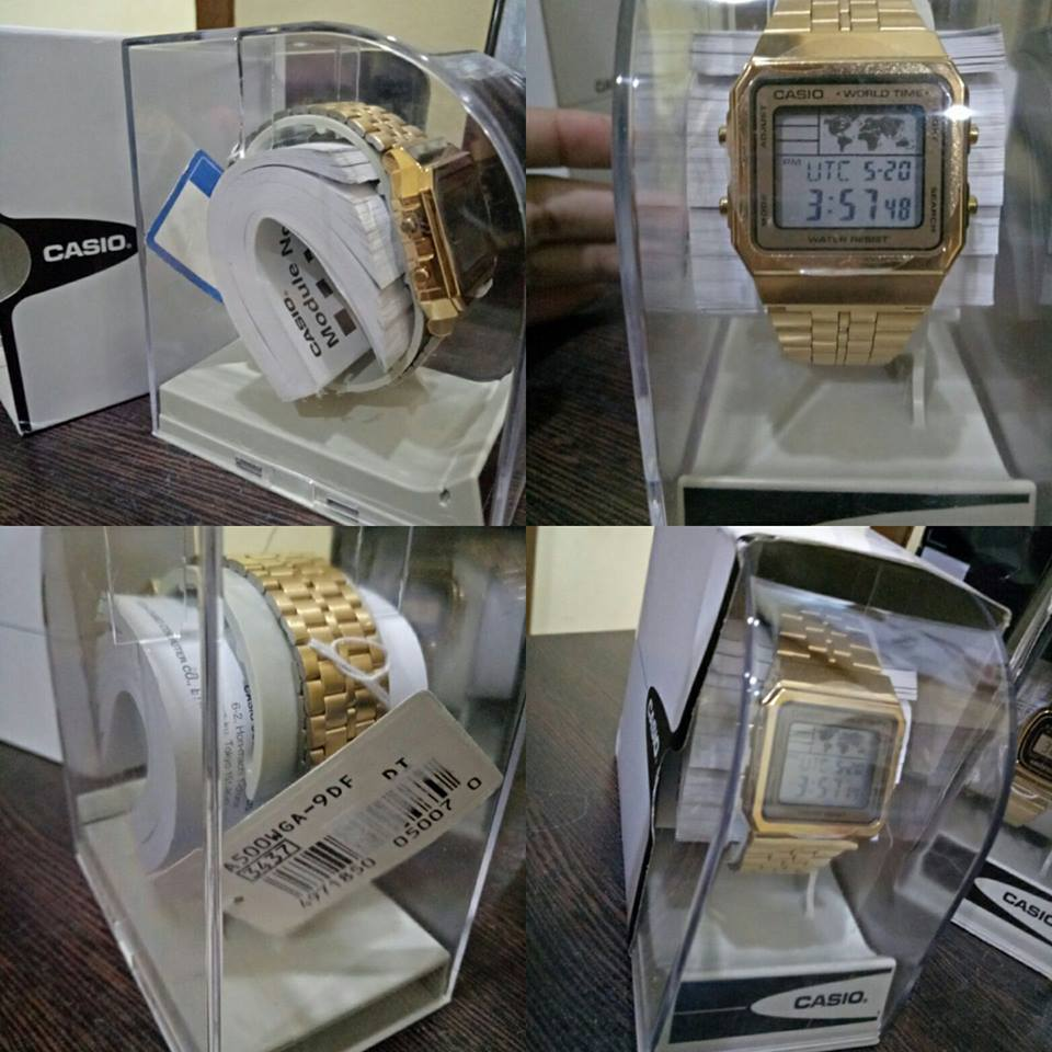 Casio Vintage Unisex Gold Plated Stainless Steel Strap Watch A500WGA-9DF