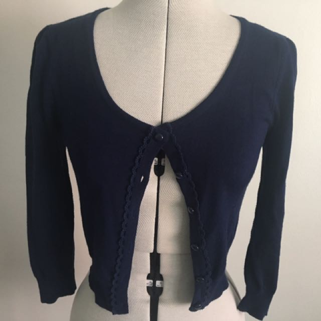 Cropped Navy Cardigan- Review Size 6