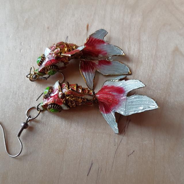 Cute red fish earrings