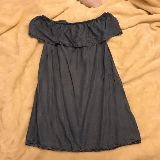 Denim Off The Shoulder Frill Dress