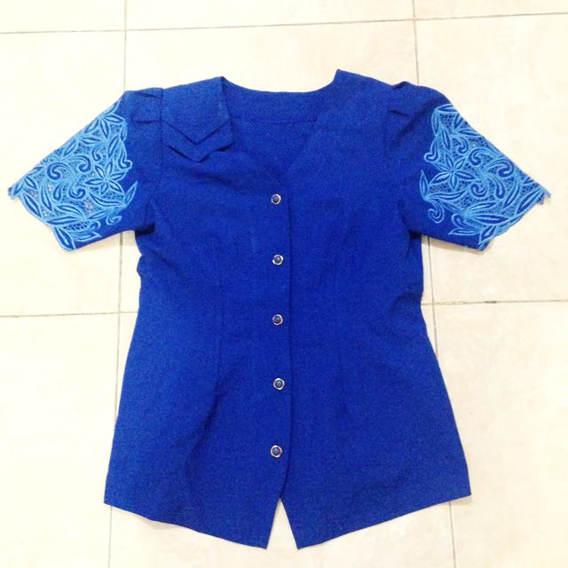 Embroidery Electric Blue Shirt