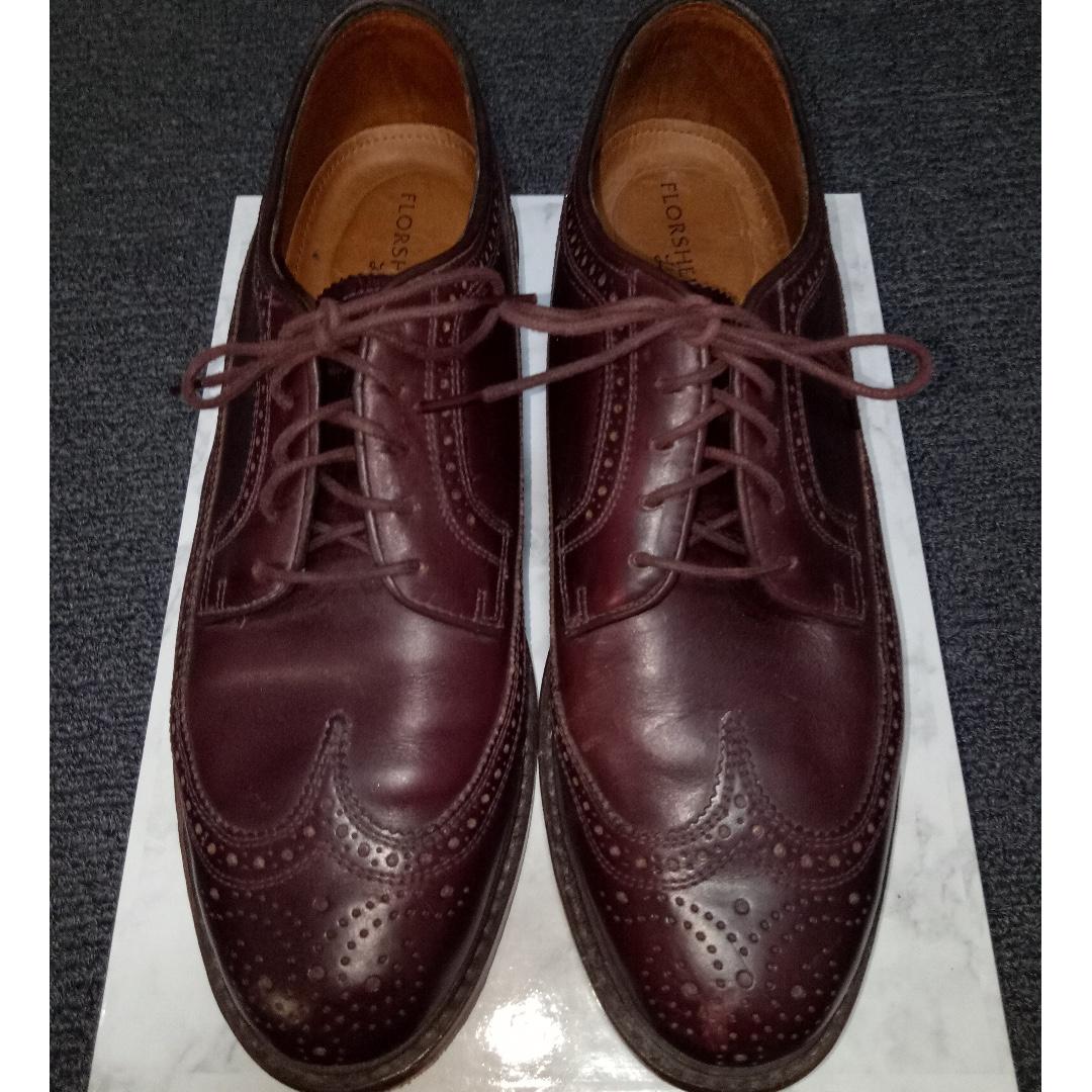 FLORSHEIM Mens 9D Brown/Plum Leather OXFORD Lace Up BROGUE Formal Dress Shoes