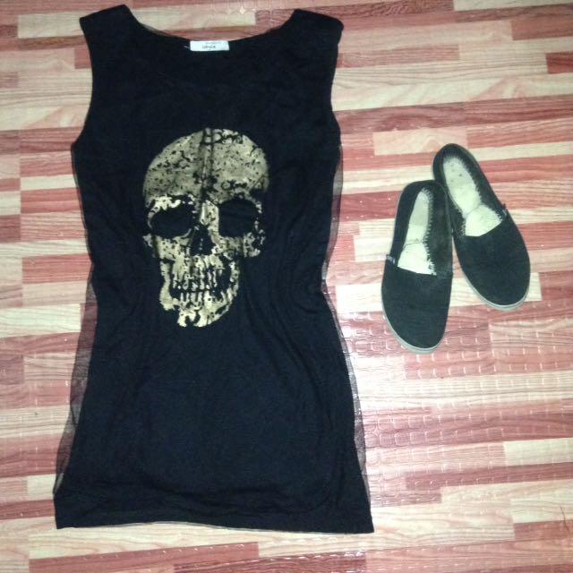 Gold skull net dress