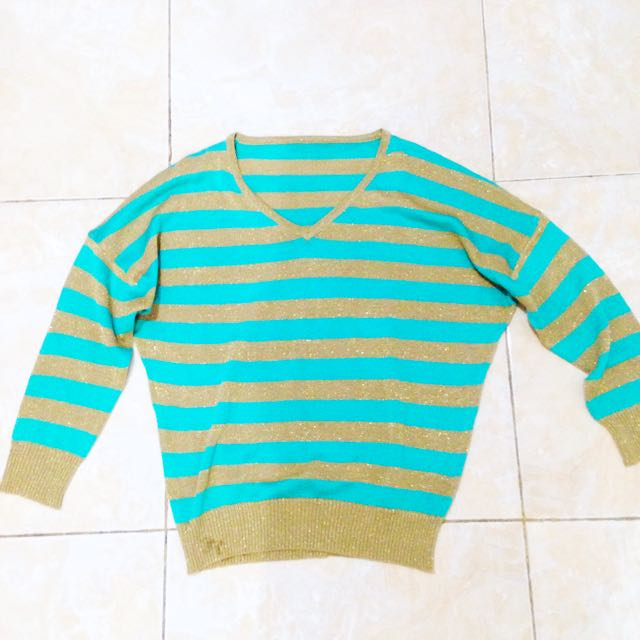 Green Gold Stripe Knitted Sweater