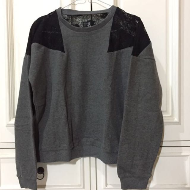 Grey Sweater Off Shoulder by Based On True Story
