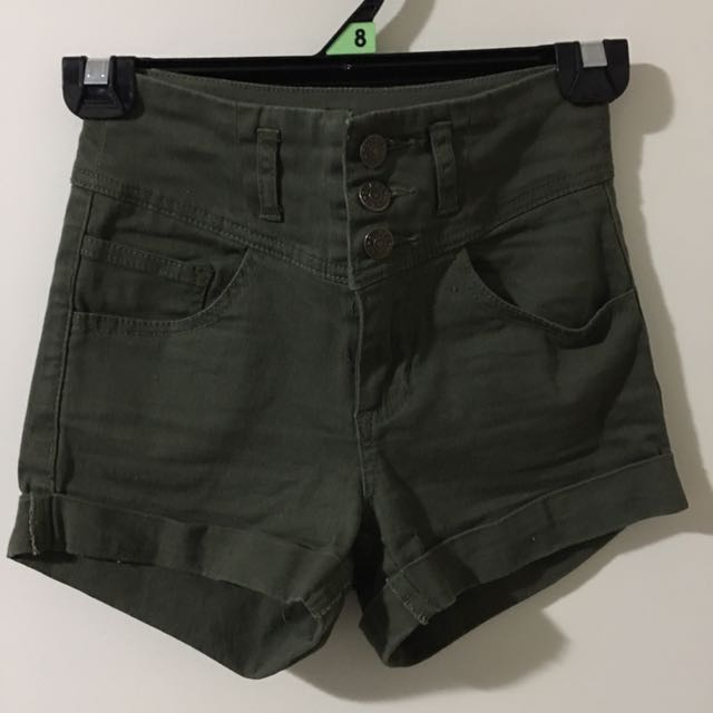 High Waisted Khaki Coloured Supre Shorts